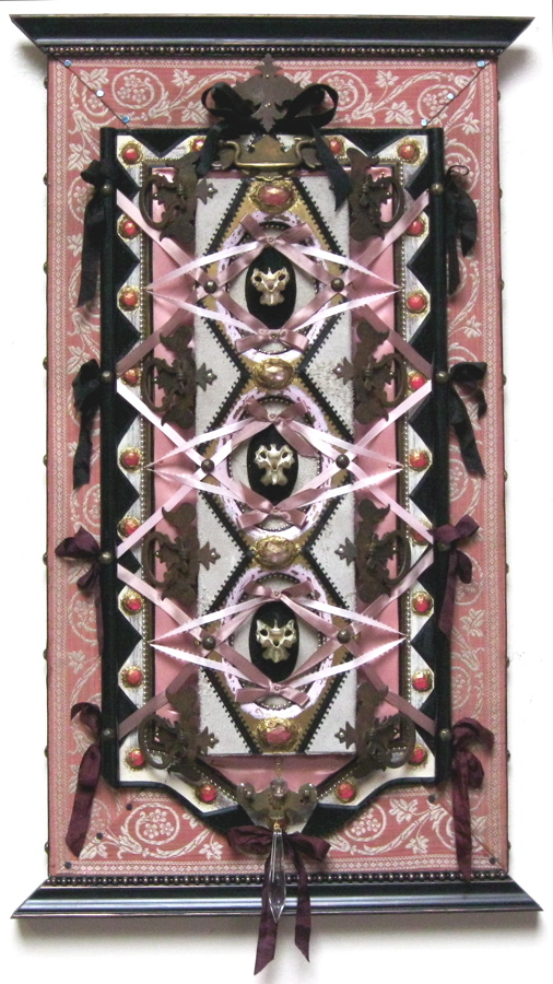 """Vanity"" - 2010 - Bone, antique hardware, wood, fabric, ribbon, leather, rhinestones, crystals, glitter, acrylic paint - 16 1/2"" x 28"" - Available - Message for details"