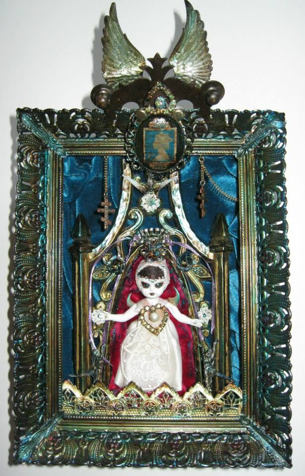 """Our Lady of the Blue"" - 2013 - Mixed media (featured on the cover of Andalusia Rose's record ""First Stone"") - 6 1/2"" x 10 1/2"" SOLD"