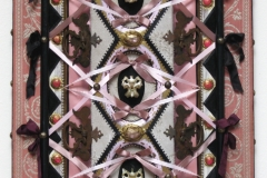 """Vanity"" detail - 2010 - Bone, antique hardware, wood, fabric, ribbon, leather, rhinestones, crystals, glitter, acrylic paint - 16 1/2"" x 28"" - Available - Message for details"